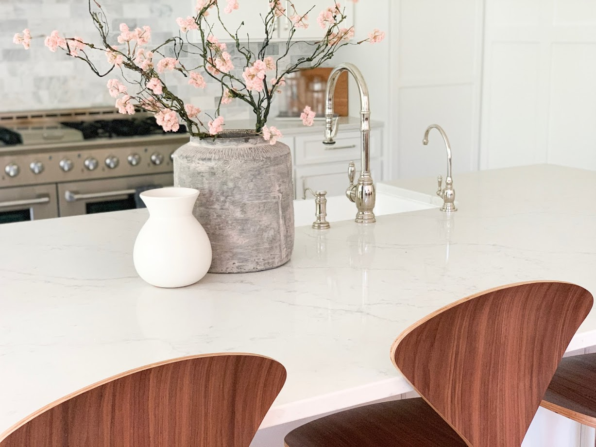 counter stools, wood stools, vase, greenery, kitchen design, interior design, new counter stools, furniture new home, new home, new build