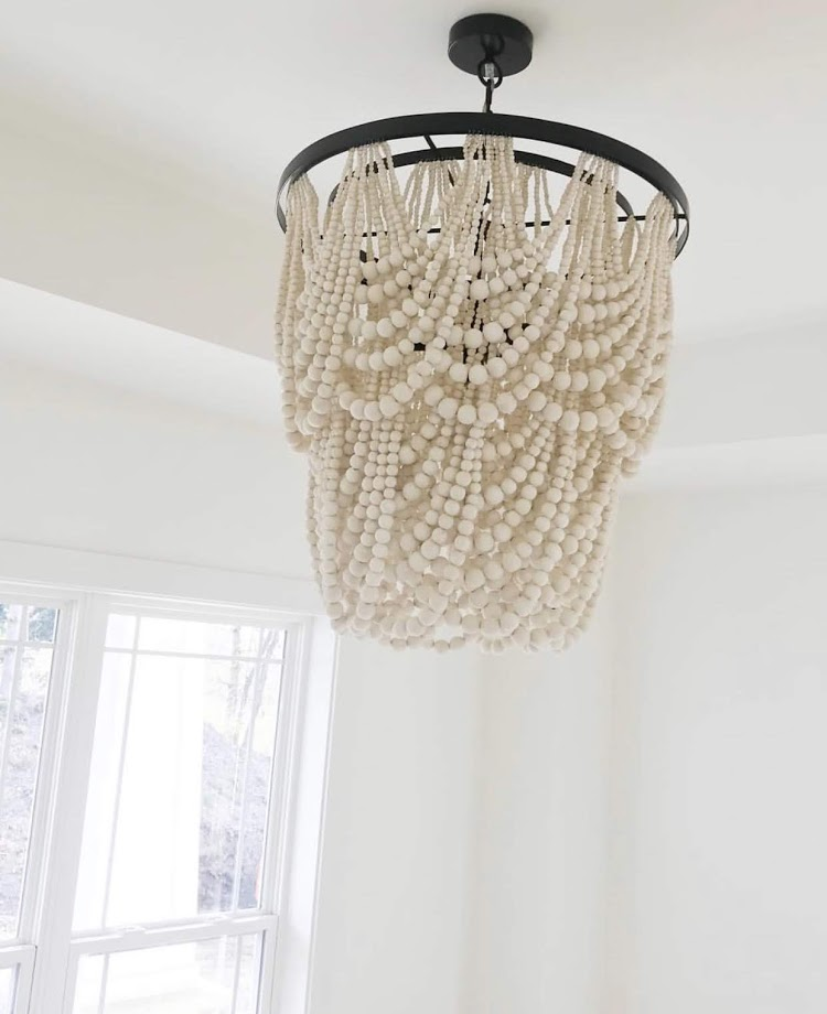 large statement wood beaded chandelier