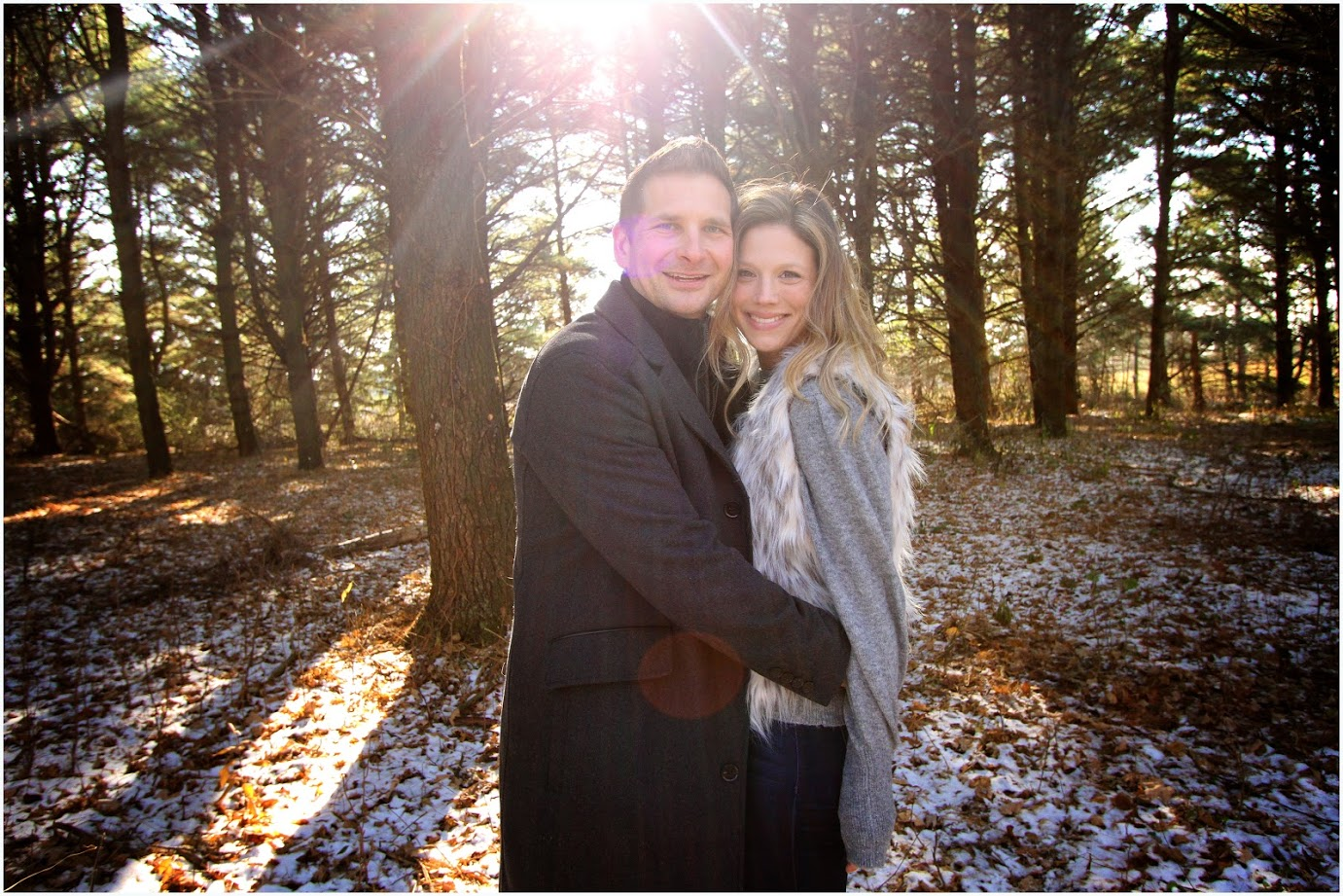 husband and wife picture in woods