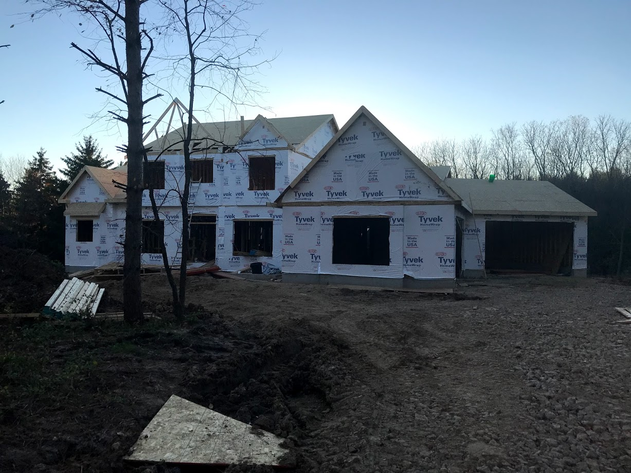 new construction two story wrapped in tyvek