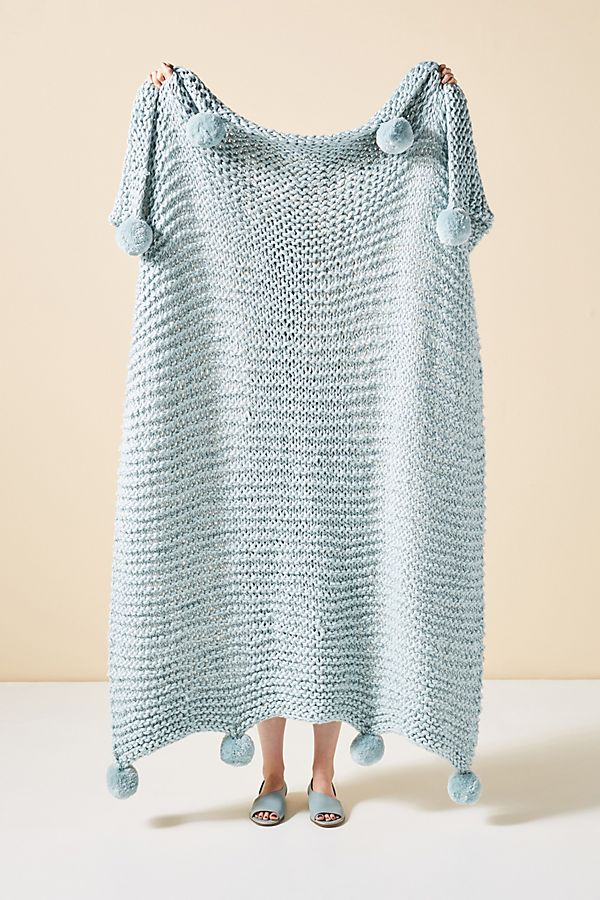 blue knit throw blanket