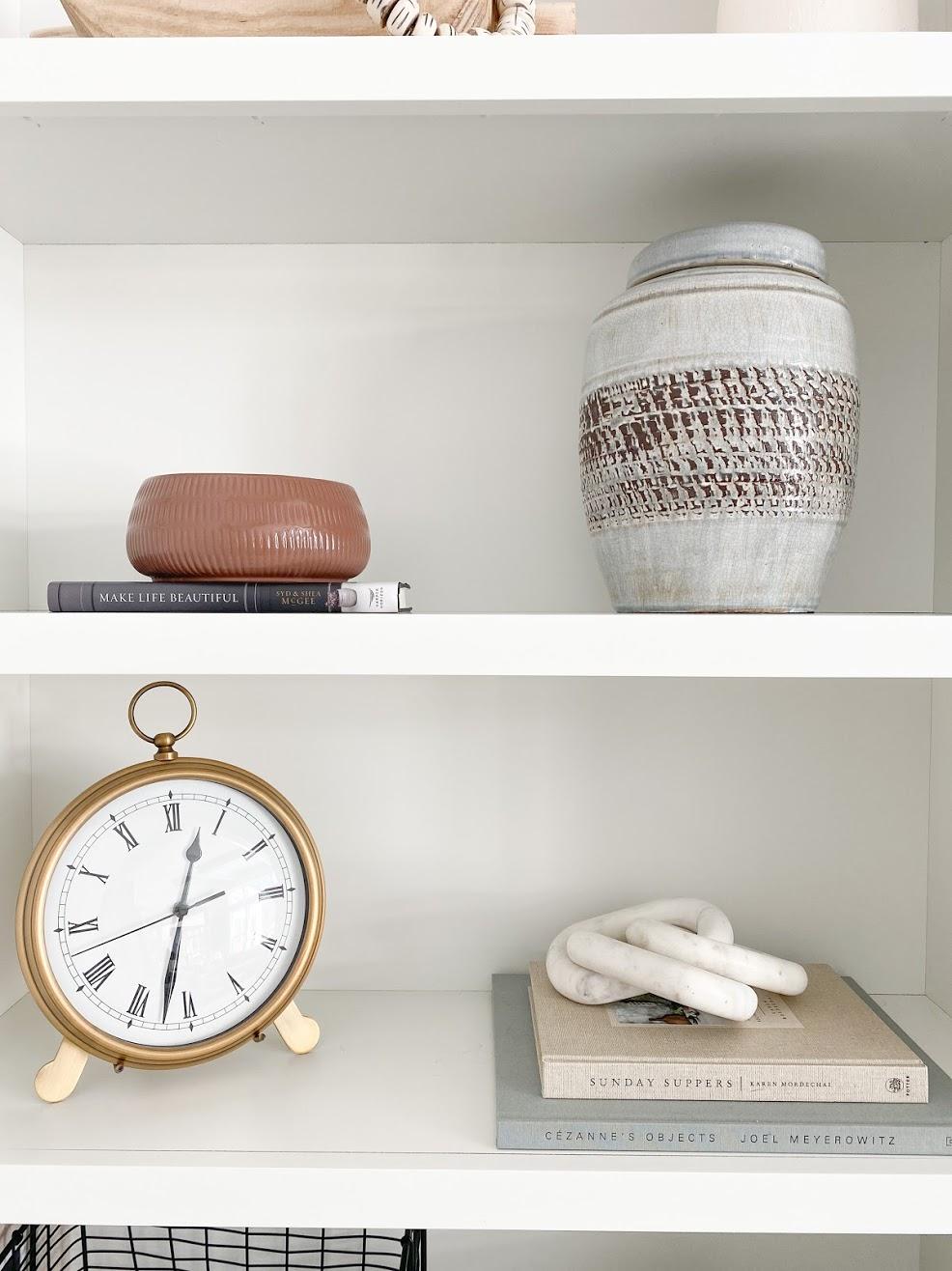 coffee table books, shelf styliing